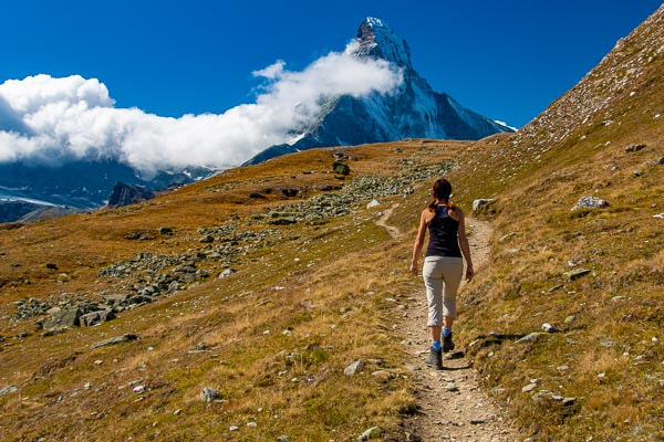 The Walker's Haute Route: hiking in front of the Matterhorn