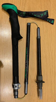 A folding carbon walking pole