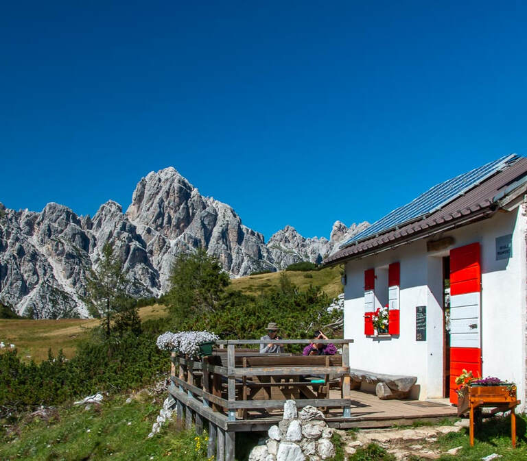 One of the amazing mountain huts on the Dolomites AV1