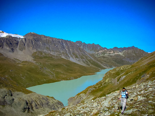 The otherworldly Lac des Dix on Stage 6a of the Haute Route
